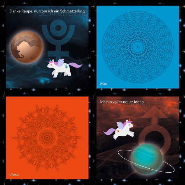 Verschiedene Harimonikarten in blau, rot und schwarz