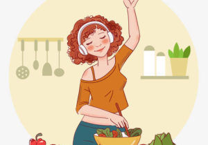Young woman cooking and listening to music in the kitchen. Healthy food illustration. Healthy lifestyle concept. Cooking at home. Prepare food
